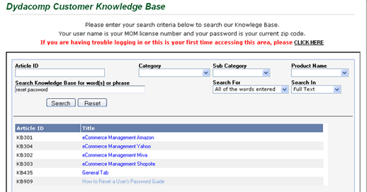 Dydacomp Online Knowledge Base